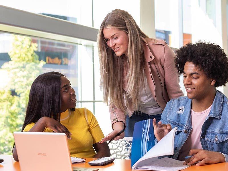 Voltijd studenten in Almere studeren achter laptop
